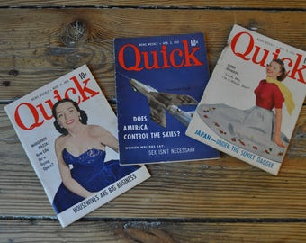 1951 Quick News Magazines, 3 Issues. Debbie Reynolds, Marguerite Piazza, Korean War Covers. 1950's News & Pop Culture, Advertising.