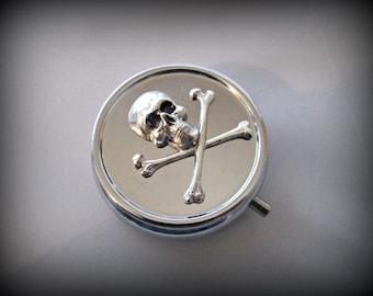Skull Pill Box ,skull cross bones Pill Case, Gothic pill box, silver pill case , victorian style pill box, 3D pill box