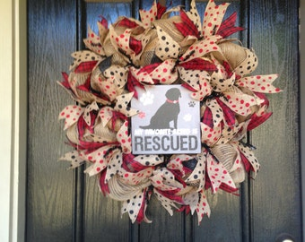 Burlap Mesh Dog Rescue Red and Black My Favorite Breed is Rescued Wreath