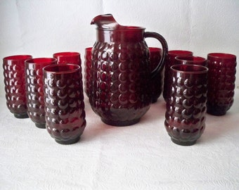 1950s Vintage Drink or Barware Set with 1 Large Red Ruby Bubble Glass Pitcher and 10 Red Ruby Bubble Glass Tumbler Glasses