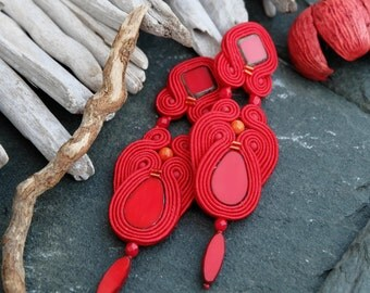 Long Red Soutache Earrings-Red Retro Earrings-Evening Party Earrings-Beaded Dangle Earrings-Boho Earrings-Gypsy Red Statement Earrings