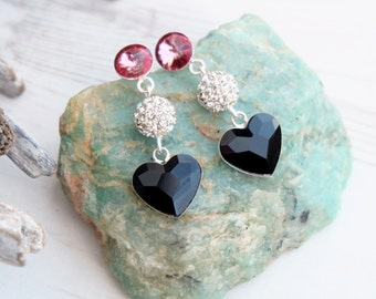 Long Sterling Silver Swarovski Crystal Earring Jewellery-Dangle Drop Heart Earrings-Black Silver Pink Earrings-Swarovski Heart Jewellery