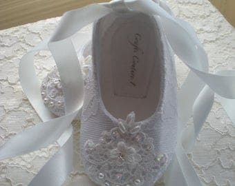 Off White Lace Christening, Wedding, Flower Girl or Special Occasion Baby Girl Shoes.