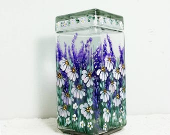 Canister Jar, Glass Canister, Storage Jar, Kitchen Canister, Hand Painted, Cone Flowers, Delphinium, Garden Painting, Kitchen Decor.