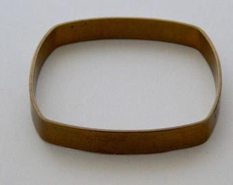 Flat Square Brass Bangle Bracelet