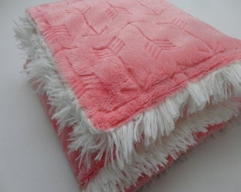 Coral and Ivory Arrow Minky Shag Baby Blanket - Made to Order