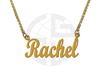 Gold Plated Personalized Handmade Name Necklace with ANY NAME of your choice in English with High Polish and Shiny Finish Gift item - SB