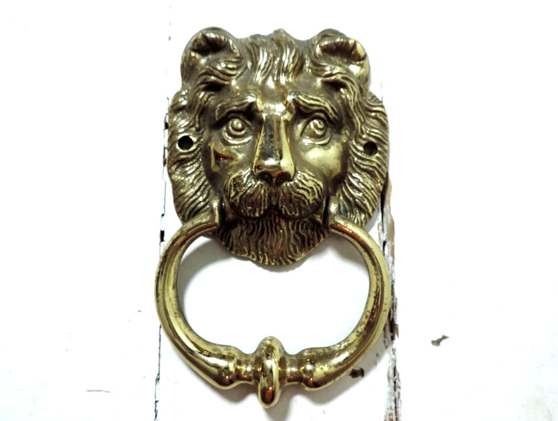 Vintage lion head door knocker vintage door knocker brass lion - Antique brass lion head door knocker ...