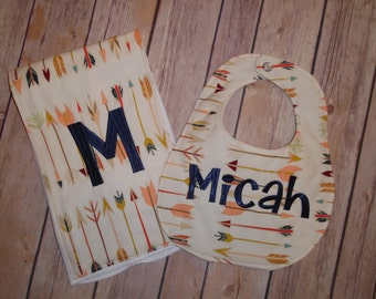 Arrows- Personalized - Boutique Bib and Burp Cloth set - Arrow print