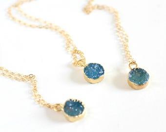 Druzy necklace - blue druzy necklace - druzy jewelry - drusy necklace - blue crystal necklace - gemstone necklace - dainty necklace
