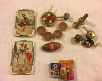 Vintage doll house accessories for kitchen & dining room