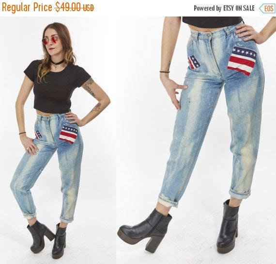 Vtg 80s High Waisted JEANS Studded Bedazzled PATCHWORK American Flag Stars and Stripes Distressed Shredded Acid Wash Boho Rocker Retro XXS