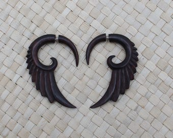 Small Wing Earrings, Fake Gauge Earrings, Wood Fake Piercing