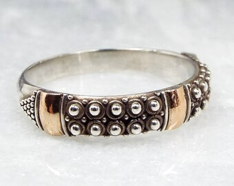 Vintage / Sterling Silver with Gold Etruscan Style Band Stacking Ring / Size R