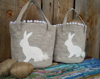 Personalized Easter Basket Burlap Easter Basket Easter Basket Easter Bunny Basket Easter Decor Egg Hunt Basket Rustic Easter Easter Rabbit