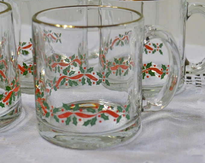 Vintage Glass Mug Set of 6 Holly Berry Ribbon Design Red Green PanchosPorch