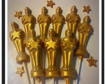 Oscar Theme Party - Oscar chocolate lollipops
