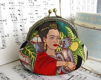 Coin purse clutch with Frida Kahlo, kiss lock purse