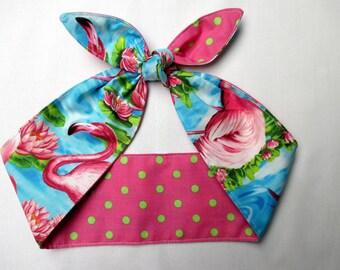 Head Scarf hair wrap Pink Flamingo Pinup Rockabilly Bandana  Pink Green Polka dots Blue Lotus Print  Flamingos