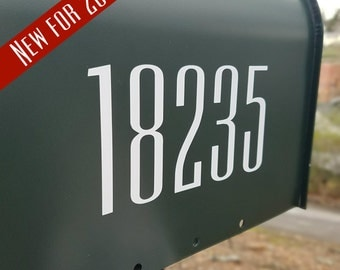 Mailbox Number Decal (2 sets) | Modern Mailbox Numbers | Mailbox Decals in Ultracondensed Typeface