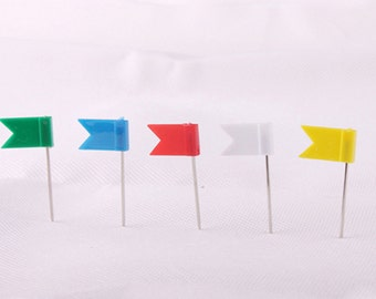 100pcs Color Flag Push Pins Office Home School Supplies Cork Board Map Drawing 5 Colors Assorted Push Pins Plastic Flag