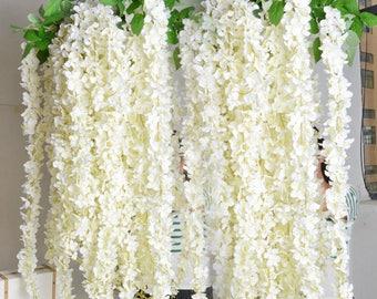 "10 pcs Length 1.8m/70.8"" Wisteria Garland Hanging Flowers For Outdoor Wedding Ceremony Decor Silk Wisteria Vine Wedding Arch Floral Decora"