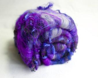 Carded Art Batt for Spinning or Felting - 60g/2.11oz -  Hand Dyed Fibres - Merino, Mohair Locks, Sparkle, Bamboo, Silk Noil - Wild Batt
