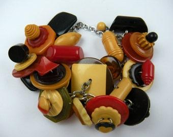Absolutely Loaded Bakelite Button Bracelet