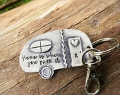 Hand Stamped camping keychain or Christmas ornament - Stop and smell the s'mores - Home is where you park it