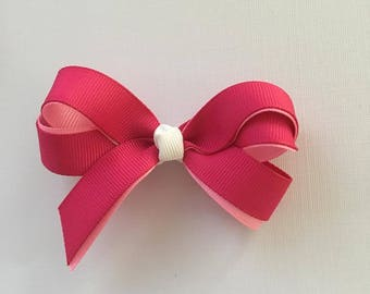 Pink two tone grosgrain bow