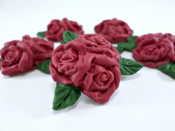 Burgundy Sugar Flowers Edible Fondant Flower Roses For Cake