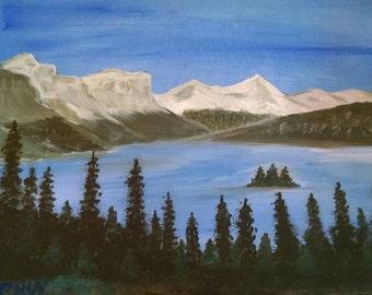 Acrylic painting. Mountain scene. Art collectible 11x14 OOAK unique