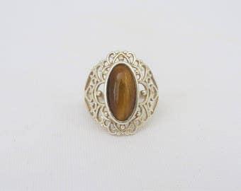 Vintage Sterling Silver Tiger's Eye Filigree Ring Size 7