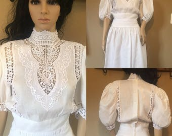 Vintage 60s Jessica McClintock of Gunne Sax Hippie Boho Wedding Dress Victorian Crochet XS/S