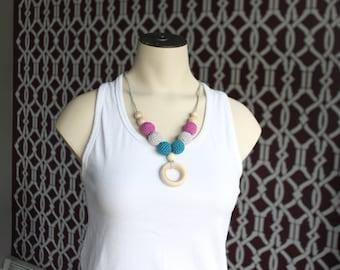 Nursing Necklace, Breastfeeding Necklace, Crochet Jewlery, Teething Necklace, Beads