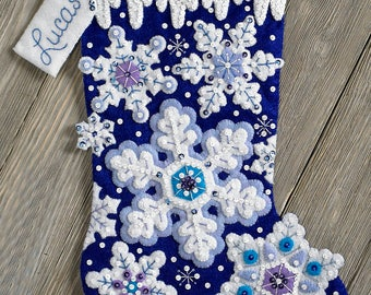 """Bucilla Sparkle Snowflakes ~ 18"""" Felt Christmas Stocking Kit #86709, Blue & White, DIY"""