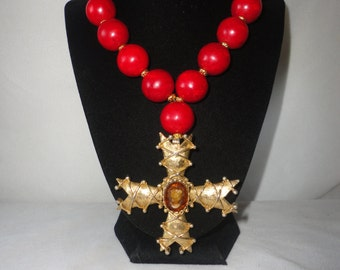 A Magnificent Red Turquoise(Dye) Byzantine Cross Necklace*******.