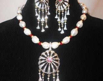 Renaissance Inspired Baroque Rubies Topaz Necklace Set******.