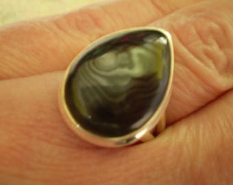 Crown Of Silver Psilomelane (Natural) 925 Sterling Silver Ring Size 8
