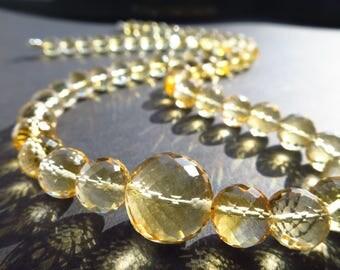 Big Citrine gemstone necklace brigth yellow gemstone crystal silver necklace Silver birthstone april  birthday bride jewelry  citrine