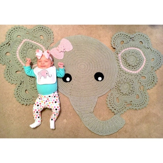Crochet Patterns Elephant Rug : Crocheted Elephant Rug by CaptainWithAHook on Etsy