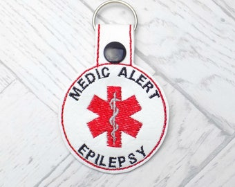 epilepsy keyring, epilespy alert keyring, medic alert keychain, epilepsy awareness, epileptic, epilepsy alert, medic alert, keyring, key fob