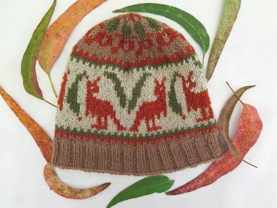 KNITTING PATTERN, Kangaroo Hat, Red Kangaroo, Australian Hat, Stranded Knitti...