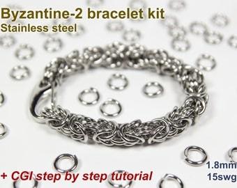 Byzantine-2 Bracelet Kit, Chainmaille Kit, Stainless Steel, Chainmail Kit, DIY Kit, Jump Rings, Chainmail Bracelet Kit, Chainmaille Tutorial