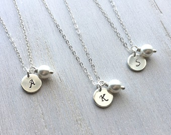 Initial Necklace, Stamped Necklace with Pearl, Personalized Necklace, Stamped Jewelry, Sterling Stamped Necklace, Sterling chain