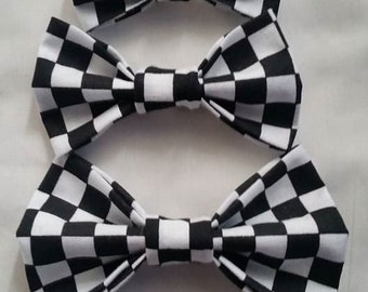 Racing Bowties Clip On Bow Ties 3 Sizes Mens Young Men and Infant Checkered Race Fabric