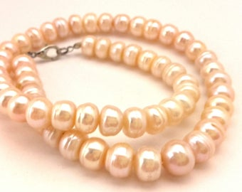 """Vintage Beaded Women Necklace Light Pink Cream Freshwater Baroque Pearls Silver Plated Clasp Long 19.0"""""""