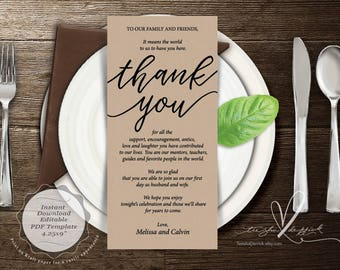 Wedding Place Setting Thank You Card, Instant Download Editable PDF Template, Kraft Wedding Thank you card in PDF template (TED407_2)