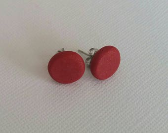 Polymer clay earrings- hot studs in shimmery red