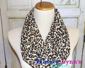 Black Brown & Putty Leopard Jersey Knit Infinity Cheetah Animal Print Womens Accessories